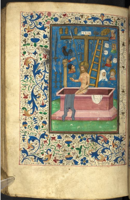 A manuscript miniature of Jesus, beaten, surrounded by the implements of the Passion